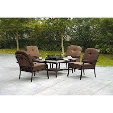 patio furniture with fire pit table amazon com 5 piece patio conversation set with fire pit set