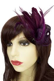 small fascinators for hair aubergine purple small flower hair fascinator purple