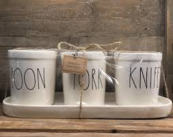 must have kitchen knives new rae dunn by magenta spoon fork knife 4 piece set farmhouse