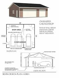 Workshop Garage Plans Two Car Garage With Rear Bay Shop Plan 864 2 24 U0027 X 36 U0027 By Behm