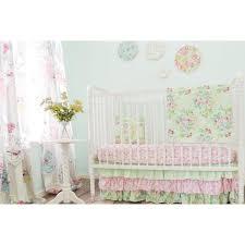 damask floral prints baby bedding mint pink crib bedding set