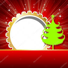 beutiful card with green xmas tree u0026 golden color frame in red
