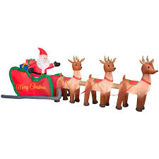 home accents holiday 16 ft w inflatable santa in sleigh with