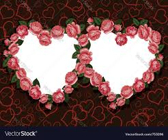 rose flowers two hearts frame pattern royalty free vector