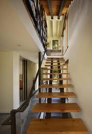 open tread staircase modern with open treads sliding doors douglas fir