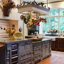 brown tile backsplash wooden island modern farmhouse kitchen