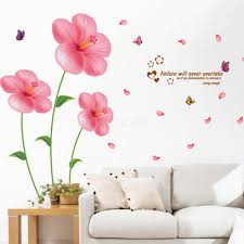 flower wall stickers living room bedroom wall art decals pink flower wall stickers living room bedroom wall art decals