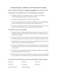 combinations and permutations worksheet doc sheet print