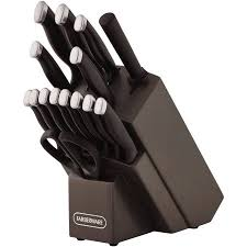 Farberware Kitchen Knives Farberware 16 Piece Comfort Grip Knife Set Black Walmart Com