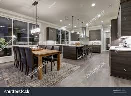 luxury new construction home open floor stock photo 557515927