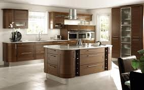 awesome modern open kitchen design with brown wooden cabinet and