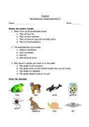 free printable worksheets vertebrates invertebrates english worksheet vertebrates invertebrates behavior report