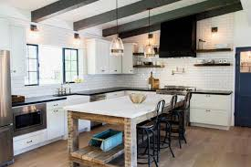 sloped kitchen ceiling with wood beams design ideas industrial
