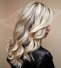 shades of high lights and low lights on layered shaggy medium length different shades of grey highlights silver and white