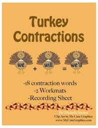 turkey contractions activity perfect for thanksgiving