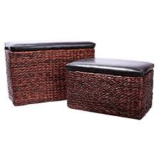 Foot Ottomans Eshow Ottoman Rattan Ottoman With Storage Hassocks And