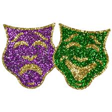 mardi gras deco mesh comedy tragedy mask mardi gras sticker s001 craftoutlet