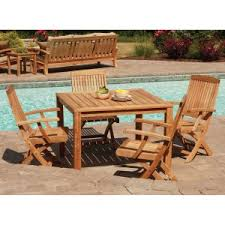 Teak Outdoor Dining Table And Chairs Teak Patio Dining Sets Hayneedle