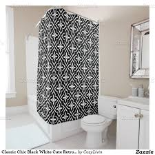 Graphic Shower Curtains by Classic Chic Black White Cute Retro Arabic Pattern Shower Curtain