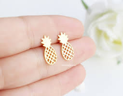 gold second studs pineapple stud earrings in silver or gold jewelry on luulla