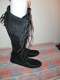 womens boots size 9 5 vintage custom made leather ankle moccasin boots s fringe