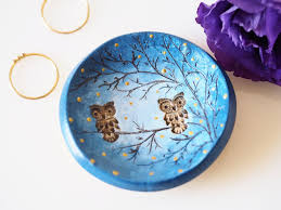 owl jewelry dish clay owl ornament clay ring holder