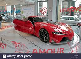 toyota car showroom the toyota ft 1 concept car on display in the paris toyota car stock