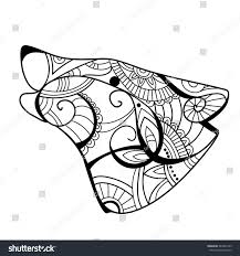 wolf head wolf coloring book wolf stock vector 383346169