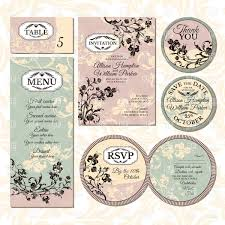 Invitation Card With Rsvp Set Of Vintage Floral Wedding Cards Invitations Thank You Card