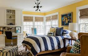 Navy And Yellow Bedding Striped Duvet Contemporary Boy U0027s Room Katie Rosenfeld Design