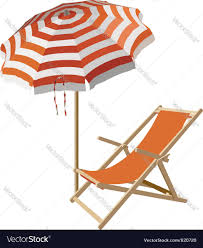 Clip On Umbrellas For Beach Chairs Chair And Beach Umbrella Royalty Free Vector Image