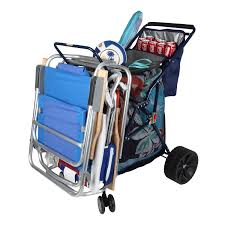 Outdoor Cooler Cart On Wheels by Amazon Com Folding Beach Cart With Cooler Color Blue Large