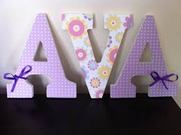 Purple Nursery Wall Decor Purple Flowers Wooden Letters Nursery Letters Wall Decor