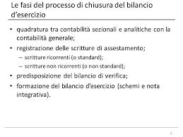 il processo di chiusura bilancio di esercizio e consolidato