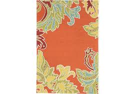 Floral Outdoor Rug Floral Border Orange 5 U0027 X 7 U00276 Indoor Outdoor Rug Rugs Red