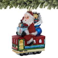 francisco santa trolley car ornament glass