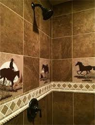 cowboy bathroom ideas shower tiles with horses and cowboys a western rustic home