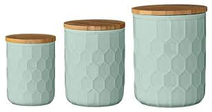 teal kitchen canisters mint jars with bamboo lids 3 set kitchen