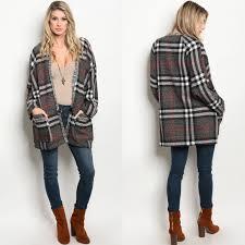 plaid sweater 94 glamvault jackets blazers grey plaid sweater jacket