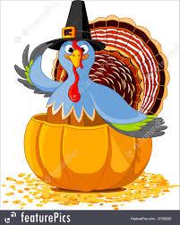 holidays thanksgiving turkey in the pumpkin stock illustration