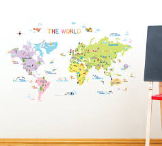 World Map Wall Sticker by Decowall Dp 08200 Colourful World Map Home Art Decoration Wall