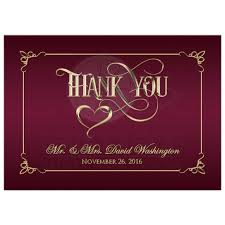 5x7 photo thank you card burgundy gold ornate scrolls
