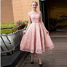 new arrival pink lace prom dress tea length homecoming dress with