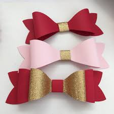 bow wrapping paper set of 4 bow paper bow bow gift topper pink and gold bows