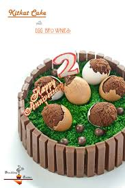 kitkat birthday cake with egg shell brownies and happy birthday to