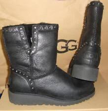 s ugg black leather ugg s cyd black leather boots size 12 ebay