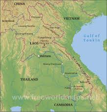 Mekong River Map Laos Physical Map