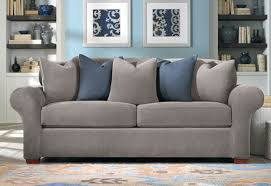 Charcoal Slipcover Flannel Gray And Blue Oh So Cozy Sure Fit Slipcovers Stretch