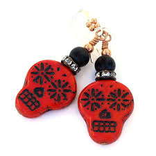 halloween glass beads red black sugar skull earrings day of the dead halloween jewelry