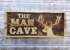 Wall Decor For Man Cave Carved Man Cave With Deer Head Wooden Sign Large Man Cave Wall